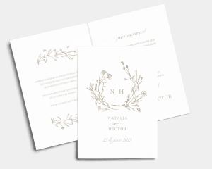 Natural Monogram - Invitación de boda - Tarjeta plegable (vertical)