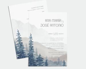 Painted Mountains - Invitación de boda (vertical)