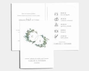 Leafy Hoops - Invitación de boda con inserto